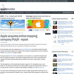 Apple acquires online mapping company Poly9 - report