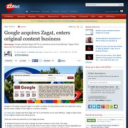 Google acquires Zagat, enters original content business