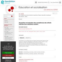 Acquisition et évaluation des compétences des enfants instruits hors institution scolaire