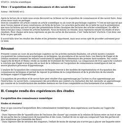 L'ACQUISITION DES CONNAISSANCES ET DES SAVOIR-FAIRE