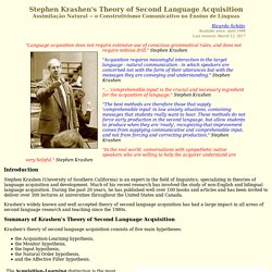 Stephen Krashen's Theory of Second Language Acquisition (Assimilação Natural - o Construtivismo no Ensino de Línguas)