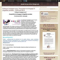 Colloque Langagez-vous ! Acquisition du langage et inégalités sociales - 19-20 juin 2013