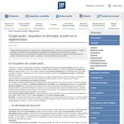 Congés payés : acquisition et décompte, le point sur la réglementation
