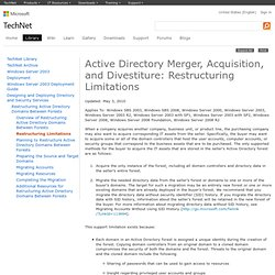 Active Directory Merger, Acquisition, and Divestiture: Restructuring Limitations