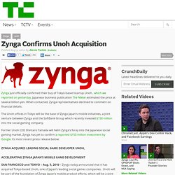 Zynga Confirms Unoh Acquisition