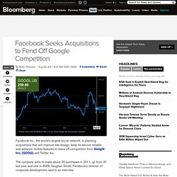 Facebook Seeks Acquisitions to Fend Off Google Competition