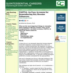 FAKTSA: An Acronym for Remembering Key Resume Enhancers
