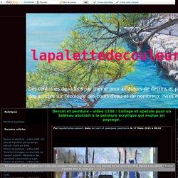 vidéo 1336 : Collage et spatule pour un tableau abstrait à la peinture acrylique qui évolue en paysage. - lapalettedecouleurs