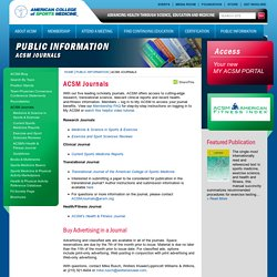 ACSM Journals