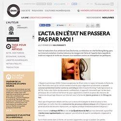 L'ACTA en l'état ne passera pas par moi !