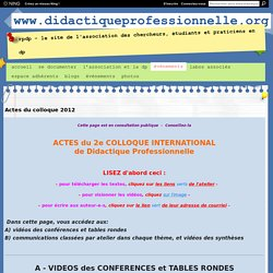 Didactique pro - Actes du colloque 2012 Nantes