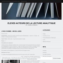 15 Lecture Analytique Autoportrait Leiris