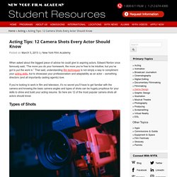Acting Tips: 12 Camera Shots Every Actor Should Know