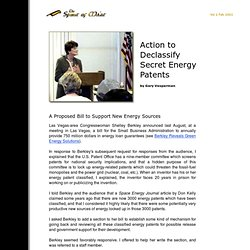 Action to Declassify Secret Energy Patents<br><br>