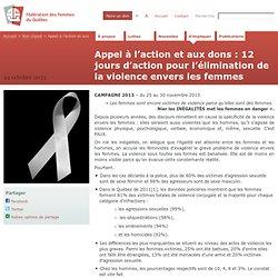 Appel à l'action et aux dons : 12 jours d'action pour l'élimination de la violence envers les femmes