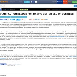 Sharp Action Needed For Having Better SEO Of Business