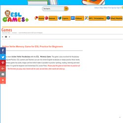 Action Verbs Memory Game 2