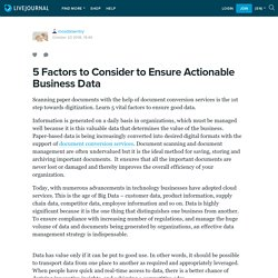 5 Factors to Consider to Ensure Actionable Business Data: mosdataentry