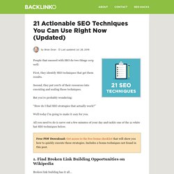 21 Actionable SEO Techniques You Can Use Right Now