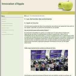 II. Les demandes des actionnaires - Innovation d'Apple