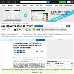 Les actionnaires de WhiteWave devraient voter en faveur de la fusion avec Danone