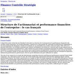 Structure de l'actionnariatet performance financière de l'entreprise: le cas français