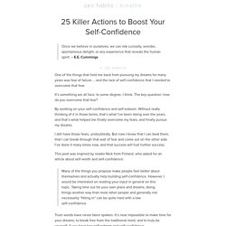 25 Killer Actions to Boost Your Self-Confidence | Zen Habits
