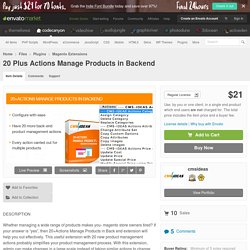 20 Plus Actions Manage Products in Backend