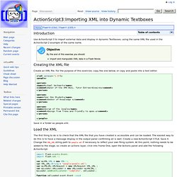 ActionScript3:Importing XML into Dynamic Textboxes - virtualMVwiki
