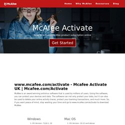 McAfee.com/activate - Enter activation code - Download and install McAfee