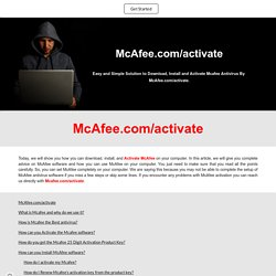 Mcafee.com/activate - Mcafee 25 Digit Activation Product Key