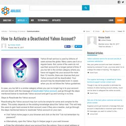 How to Activate a Deactivated Yahoo Account?