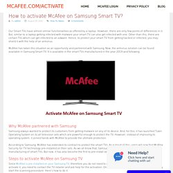 How to activate McAfee on Samsung Smart TV