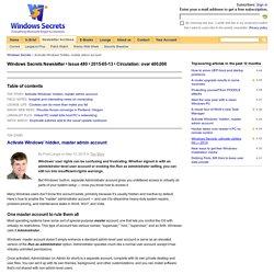 Activate Windows' hidden, master admin account