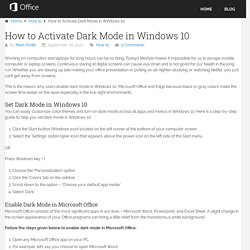 How to Activate Dark Mode in Windows 10 - office.com/setup