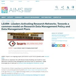 LEARN: LEaders Activating Research Networks. Research Data Management Policy/Data Management Plans