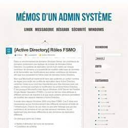 [Active Directory] Rôles FSMO