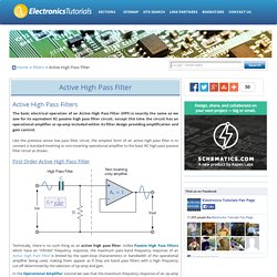 Active High Pass Filter - Op-amp High Pass Filter