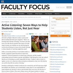 Active Listening: Seven Ways to Help Students Listen, Not Just Hear