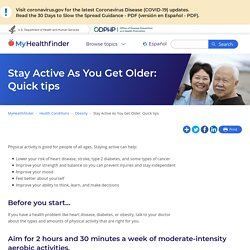 Quick summary of how older adults can stay active