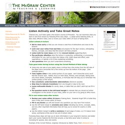 Listen Actively and Take Great Notes - McGraw Center - Princeton University