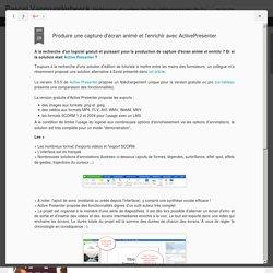 Pascal Vangrunderbeeck: Produire une capture d'écran animé et l'enrichir avec ActivePresenter