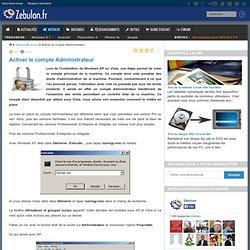 Activer le compte Administrateur - Zebulon.fr