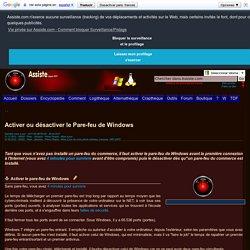 Activer ou désactiver le Pare-feu de Windows