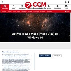 Activer le God Mode (mode Dieu) de Windows 10