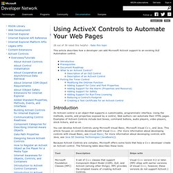 Using ActiveX Controls to Automate Your Web Pages