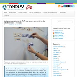 Actividad para clase de ELE: puzle con pronombres - TANDEM