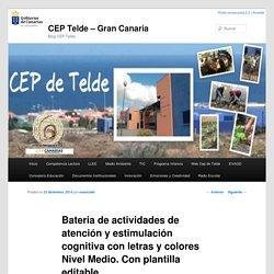 Bateria de actividades de atención y estimulación cognitiva con letras y colores Nivel Medio. Con plantilla editable