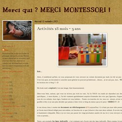 Merci qui ? MERCI MONTESSORI !: Activités 18 mois - 3 ans