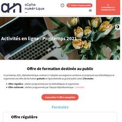 Activités en ligne printemps 2021 - Alphanumérique